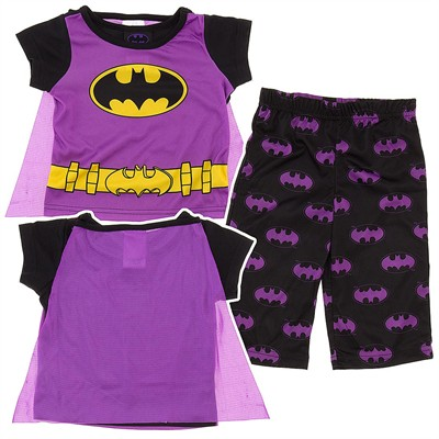 Batgirl Purple Pajamas for Infants and Toddlers with Cape