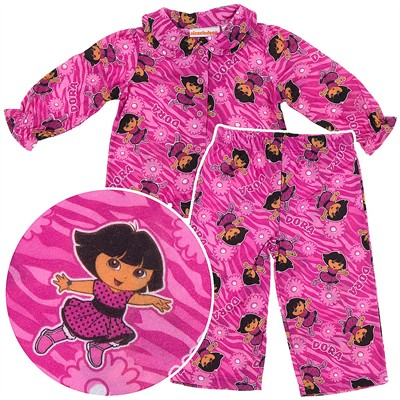 Dora Dark Pink Coat-Style Pajamas for Infant and Toddler Girls