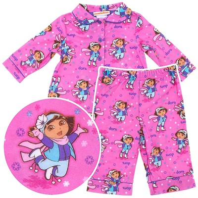 Dora the Explorer Pink Coat-Style Pajamas for Baby Girls