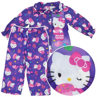 Hello Kitty Purple Coat-Style Pajamas for Girls