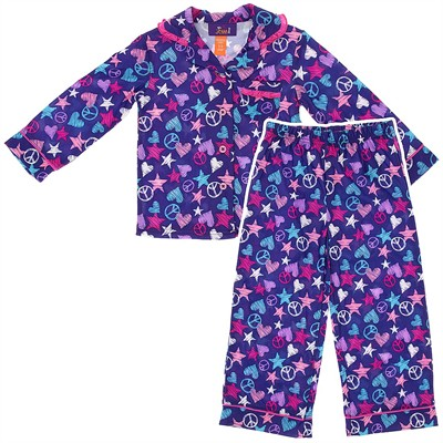 Purple Star Coat-Style Pajamas for Girls