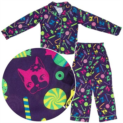 Purple Cat Coat-Style Pajamas for Girls