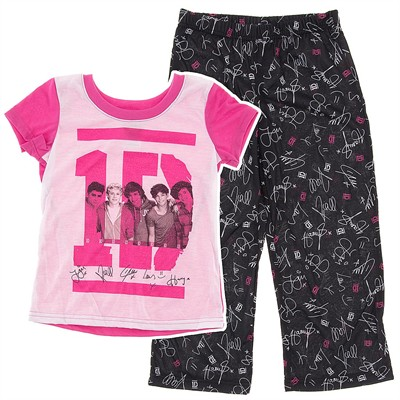 One Direction Pink and Black Pajamas for Girls