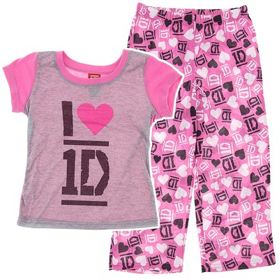 One Direction Pink and Gray Pajamas for Girls