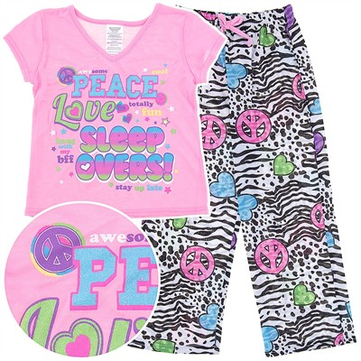 Peace, Love, and Sleepovers Pajamas for Girls