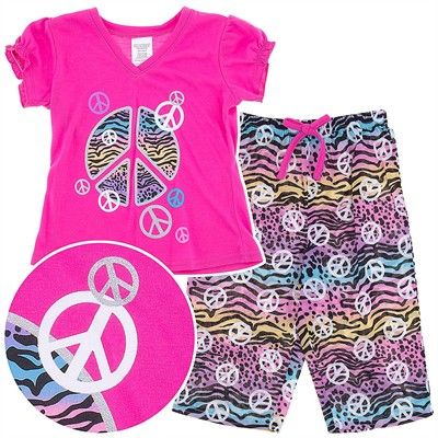 Pink Peace Sign Capri Pajamas for Girls