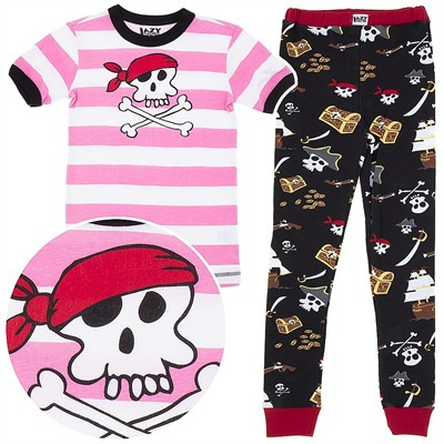 Lazy One Pink Pirate Cotton Pajamas for Toddlers and Girls