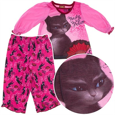 Puss in Boots Pink Pajamas for Toddler Girls