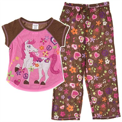 Pink and Brown Pony Pajamas for Girls