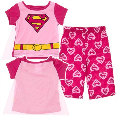 Supergirl Pink Pajamas with Cape for Infant Girls