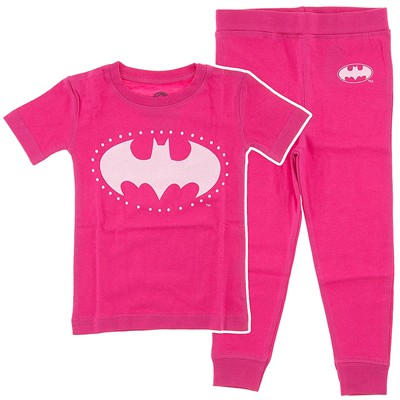 Batgirl Pink Cotton Toddler Pajamas for Girls