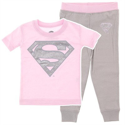 Supergirl Pink Cotton Pajamas for Infant and Toddler Girls