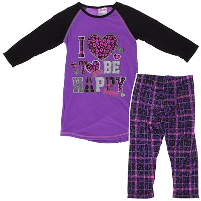 Purple I Love to Be Happy Pajamas for Girls