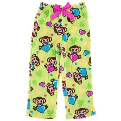 Green Monkey Plush Pajama Pants for Girls