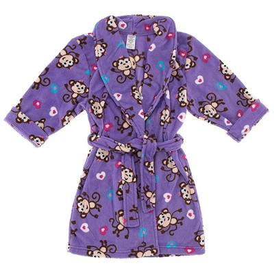 Purple Monkey Plush Bathrobe for Girls