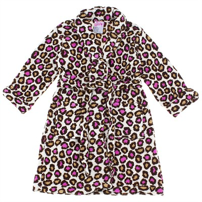 Leopard Print Plush Bath Robe for Toddler Girls