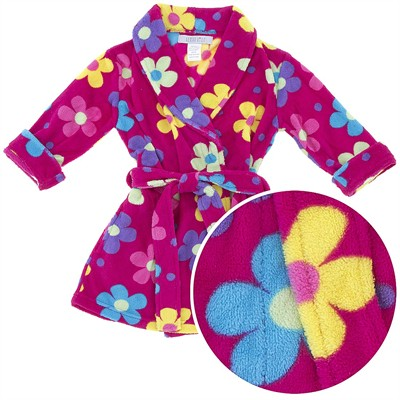 Fuchsia Floral Coral Fleece Bath Robe for Girls