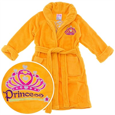 Orange Princess Crown Plush Bath Robe for Girls