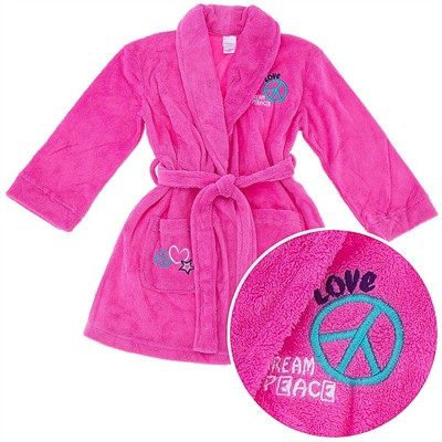 Peace and Love Coral Fleece Bath Robe for Girls