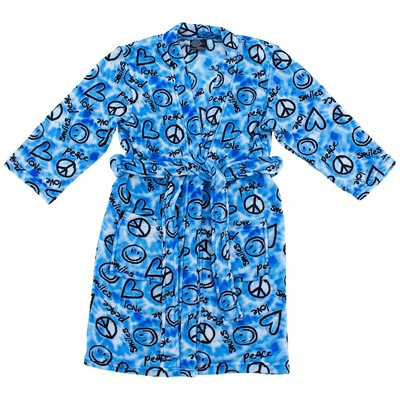 Peace and Love Plush Bath Robe for Girls