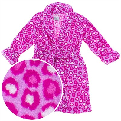 Pink Leopard Plush Bath Robe for Toddler Girls