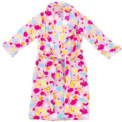 Light Pink Paint Splatter Plush Bath Robe for Girls