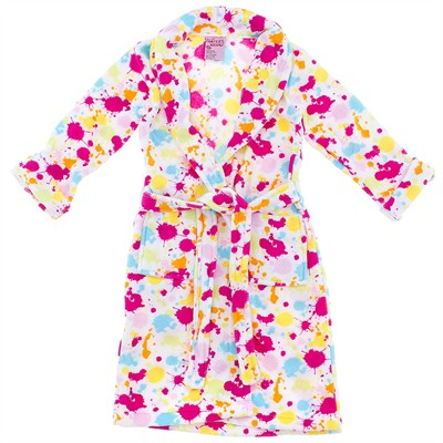White Paint Splatter Plush Bath Robe for Girls
