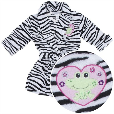 Black and White Zebra Coral Fleece Bath Robe for Toddler Girls