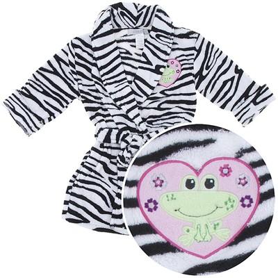 Black and White Zebra Coral Fleece Bath Robe for Toddler Girls