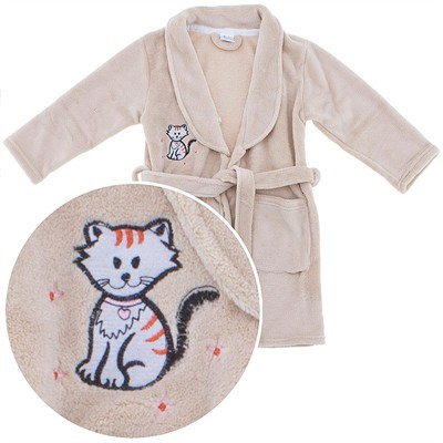 Beige Plush Bath Robe for Girls