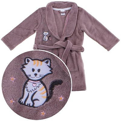 Brown Cat Plush Bath Robe for Girls
