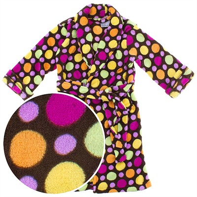 Brown Polka Dot Plush Bath Robe for Toddlers and Girls