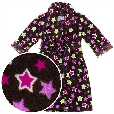 Brown Star Plush Bath Robe for Toddlers and Girls