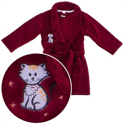 Burgundy Kitty Bath Robe for Girls