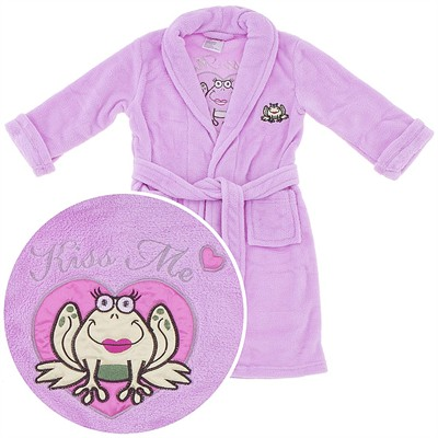 Light Pink Frog Kiss Me Plush Bath Robe for Girls