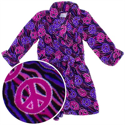 Fuchsia Peace Sign Plush Bath Robe for Toddler Girls