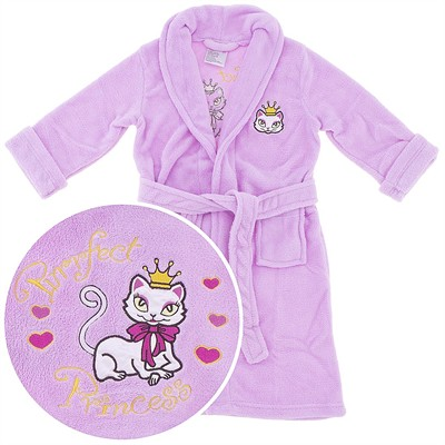 Pink Princess Kitty Plush Bath Robe for Girls