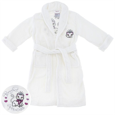 Ivory Princess Kitty Plush Bath Robe for Girls