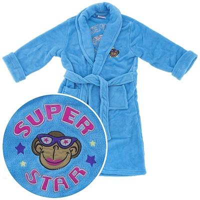 Blue Monkey Super Star Plush Bath Robe for Girls