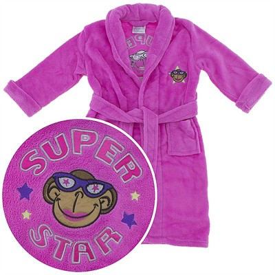 Pink Monkey Super Star Plush Bath Robe for Girls