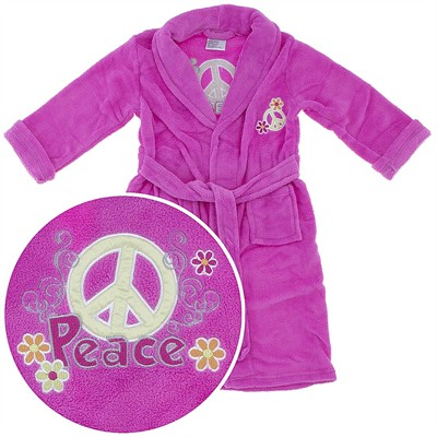 Pink Peace Sign Plush Bath Robe for Girls