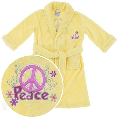 Yellow Peace Sign Plush Bath Robe for Girls
