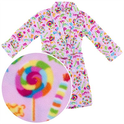 Pink Candy Fleece Bath Robe for Girls
