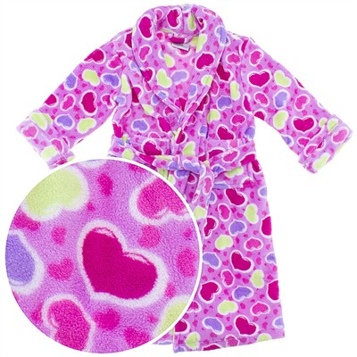 Pink Heart Plush Bath Robe for Girls