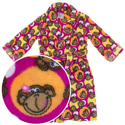 Pink Monkey Plush Bath Robe for Toddlers and Girls