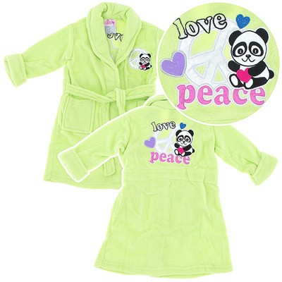 Lime Green Panda Plush Bath Robe for Girls