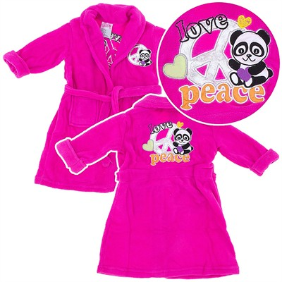 Pink Panda Plush Bath Robe for Toddlers and Girls