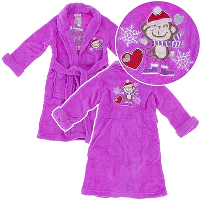 Purple Snow Monkey Plush Bath Robe for Toddlers and Girls