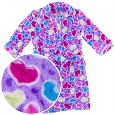 Purple Heart Plush Bath Robe for Girls