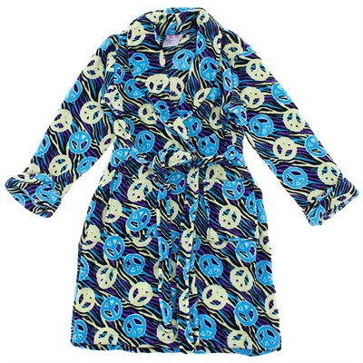 Turquoise Peace Sign Plush Bath Robe for Toddler Girls